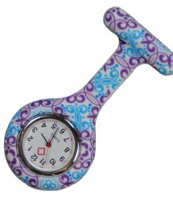 Purple & Blue Swirls Silicone Fob Watch