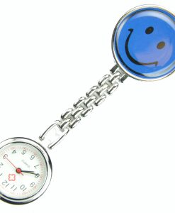 Dark Blue Smile Face Nurse Fob Brooch Pendant Pocket Quartz Watch