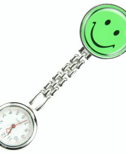 Green Smile Face Nurse Fob Brooch Pendant Pocket Quartz Watch