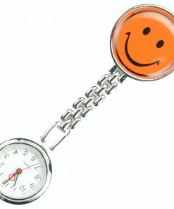 Orange Smile Face Nurse Fob Brooch Pendant Pocket Quartz Watch